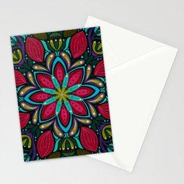 Floral Mandala | Blue, Green, Aubergine Stationery Cards
