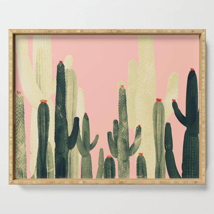 pink growing cactus Serving Tray