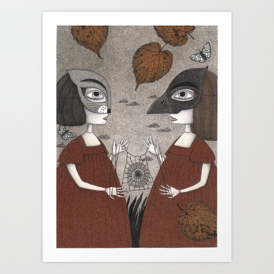 Ana and Eva (An All Hallows' Eve Tale) Art Print