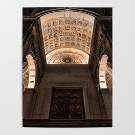 View from below of the main entrance of the Cathedral of Sant'Alessandro, the Cathedral of Bergamo A Poster