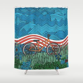 Independence Day Bike Shower Curtain