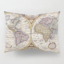 Vintage Map with Stars Pillow Sham