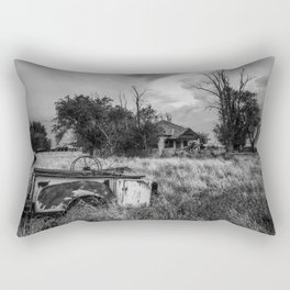 Half Truck - Rusty Old Pickup Bed and Abandoned House in Oklahoma Panhandle Rectangular Pillow