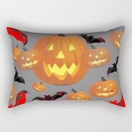 GREY HALLOWEEN JACK O'LANTERNS & BATS Rectangular Pillow