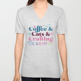 Coffee & Cats & Crafting Unisex V-Neck
