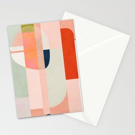 shapes modern mid-century peach pink coral mint Stationery Cards