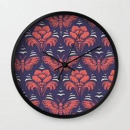 butterfly damask (stark) Wall Clock