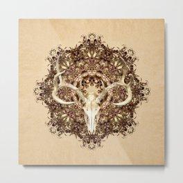 Deer Skull and Belladonna Mandala Metal Print