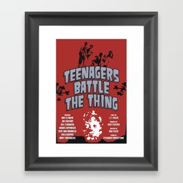 Teenagers Battle The Thing Framed Art Print