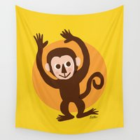 monkey Wall Tapestries featuring Monkey by BATKEI
