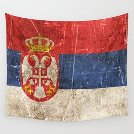 Vintage Aged and Scratched Serbian Flag Wall Tapestry