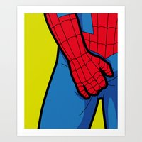the secret life of heroes Art Prints featuring The secret life of heroes - SpiderItch by Greg Guillemin