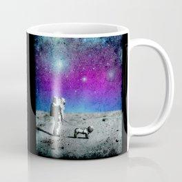 Astronaut walking his dog on the moon Coffee Mug