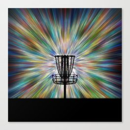 Disc Golf Basket Silhouette Canvas Print