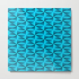 A vibrant grid of shaded rhombuses with intersecting blue diagonal lines and triangles. Metal Print