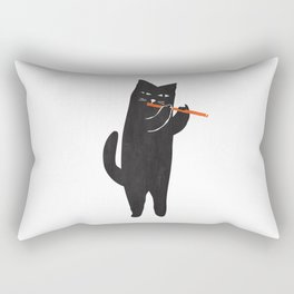 Black cat with flute Rectangular Pillow