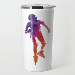 Woman in roller skates 01 in watercolor Travel Mug