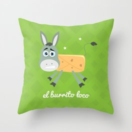 El Burrito Loco illustration Throw Pillow