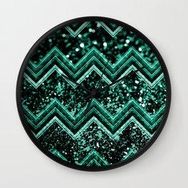 Emerald Glitter Chevron #1 #shiny #decor #art #society6 Wall Clock