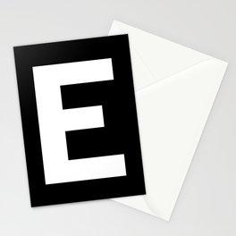 Letter E (White & Black) Stationery Cards