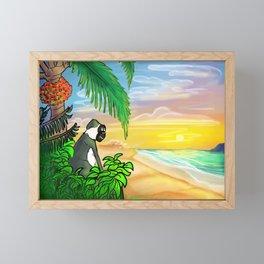Green Vervet Monkey Nevis Sunset Framed Mini Art Print