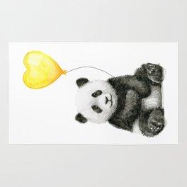 Panda with Yellow Balloon Baby Animal Watercolor Nursery Art Rug