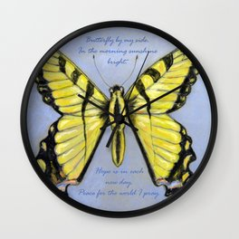 Yellow Dragontail Wall Clock