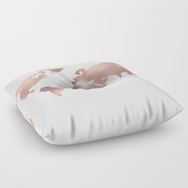 World Map Rose Gold Shimmer Floor Pillow
