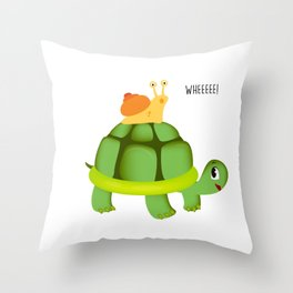 Cute Snail Riding Turtle Adorable Animal Throw Pillow