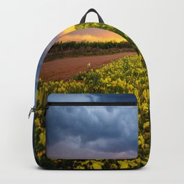 Yellow Flower Road - Path of Wildflowers Lead Into Texas Sunset on Stormy Evening Backpack