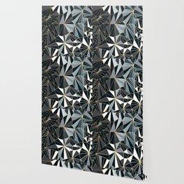 Stylish Art Deco Geometric Pattern - Black, blue, Gold #abstract #pattern Wallpaper