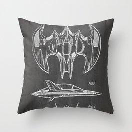 Batwing Patent - Bat Wing Art - Black Chalkboard Throw Pillow