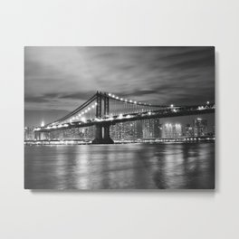 Manhattan Bridge - New York City at Night Metal Print
