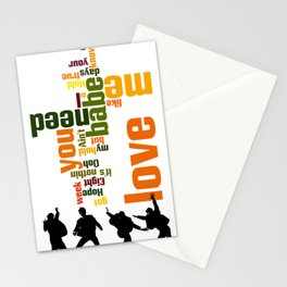 Song typography. All you need is love. Stationery Cards