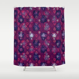 Lotus flower - wine red woodblock print style pattern Shower Curtain