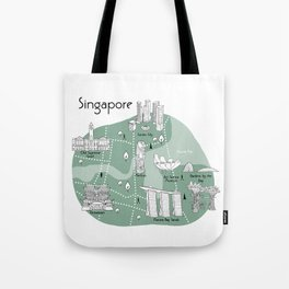 Mapping Singapore - Green Tote Bag
