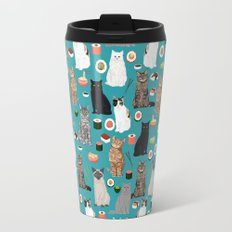Cat Sushi pattern by pet friendly cute cat gifts for pet lovers foodies kitchen Travel Mug