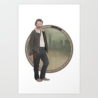 rick grimes Art Prints featuring Rick Grimes by Pikeymin