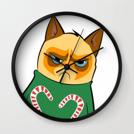 Ginger Cat in Holiday Sweater 04 Wall Clock