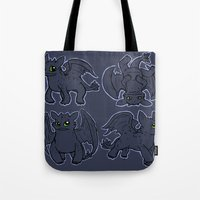 toothless Tote Bags featuring Toothless  by Magen Works