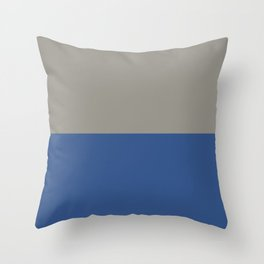 Classic Blue and Light Gray Taupe Solid Colors Horizontal Stripe Minimal Graphic Design  Throw Pillow