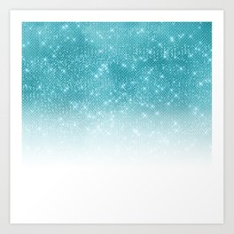 Glamorous Sparkly Aqua Blue Glitter Sequin Ombre Art Print
