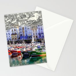 Colorful fishing boats in Luarca, Asturias, Spain. Stationery Cards