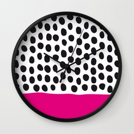 Modern Handpainted Polka Dots with Pink Wall Clock