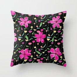 Pink petals spring flower pattern Throw Pillow