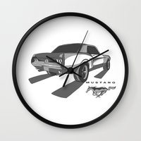 mustang Wall Clocks featuring Mustang by Mister Abigail