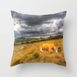 The Resting Cows Throw Pillow