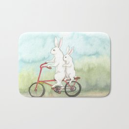 Bunnies on a Bicycle Bath Mat