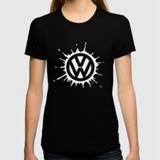 splat in white Black X-LARGE Womens Fitted Tee