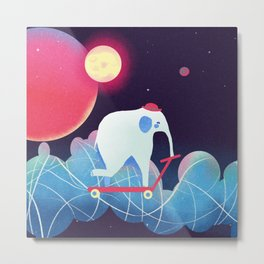 Space Elephant riding  Kick scooter Metal Print